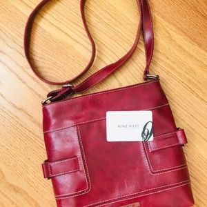 NWOT Nine West Red Leather Cross Body Bag